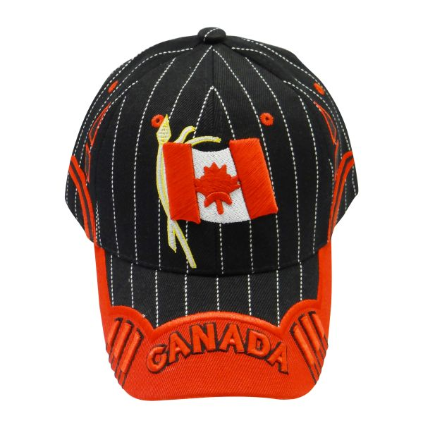 "CANADA BLACK RED COUNTRY FLAG WITH WORD ""CANADA"" ON BRIM EMBOSSED HAT CAP .. NEW"