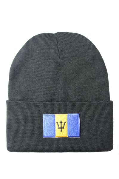 BARBADOS Country Flag BRIM Knitted HAT CAP choose your color BLACK, WHITE, RED, PINK, BLUE... NEW