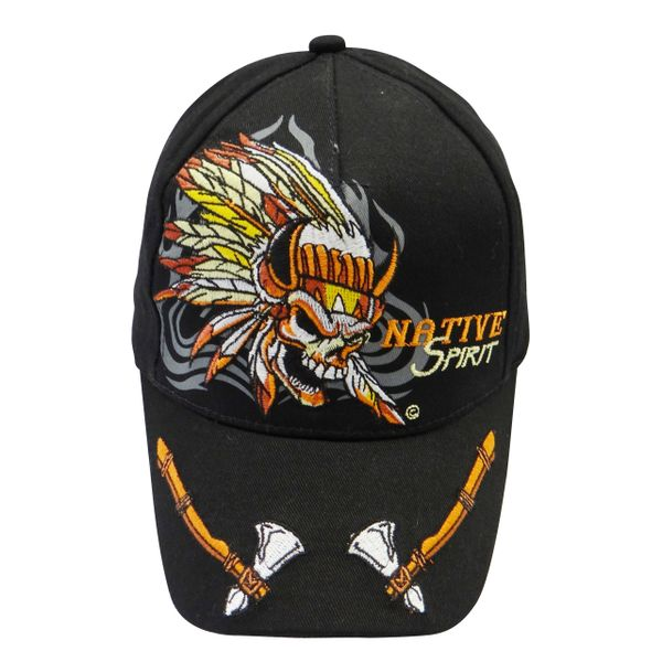 NATIVE SPIRIT BLACK WITH PICTURE EMBOSSED HAT CAP .. NEW