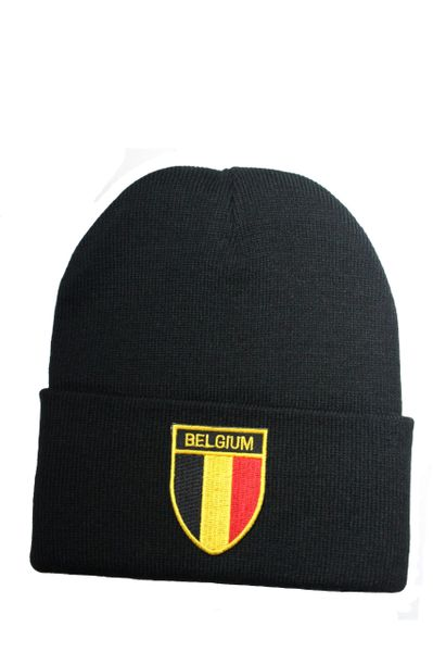BELGIUM Country Flag BRIM Knitted HAT CAP choose your color BLACK, WHITE, RED, PINK, BLUE... NEW