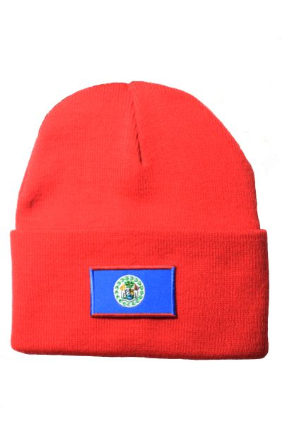 BELIZE Country Flag BRIM Knitted HAT CAP choose your color BLACK, WHITE, RED, PINK, BLUE... NEW