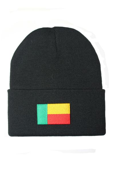 BENIN Country Flag BRIM Knitted HAT CAP choose your color BLACK, WHITE, RED, PINK, BLUE... NEW