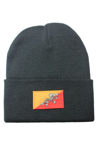 BHUTAN Country Flag BRIM Knitted HAT CAP choose your color BLACK, WHITE, RED, PINK, BLUE... NEW