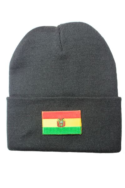 BOLIVIA Country Flag BRIM Knitted HAT CAP choose your color BLACK, WHITE, RED, PINK, BLUE... NEW