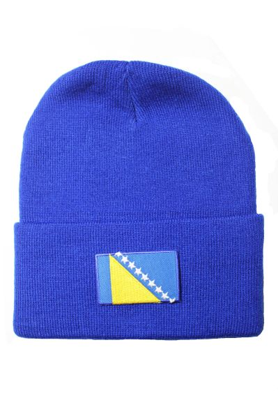BOSNIA Country Flag BRIM Knitted HAT CAP choose your color BLACK, WHITE, RED, PINK, BLUE... NEW