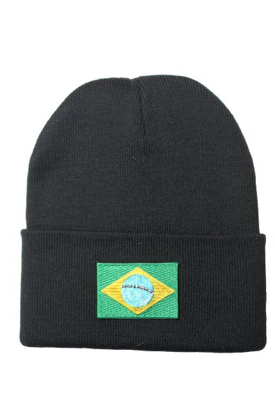BRAZIL/BRASIL Country Flag BRIM Knitted HAT CAP choose your color BLACK, WHITE, RED, PINK, BLUE... NEW