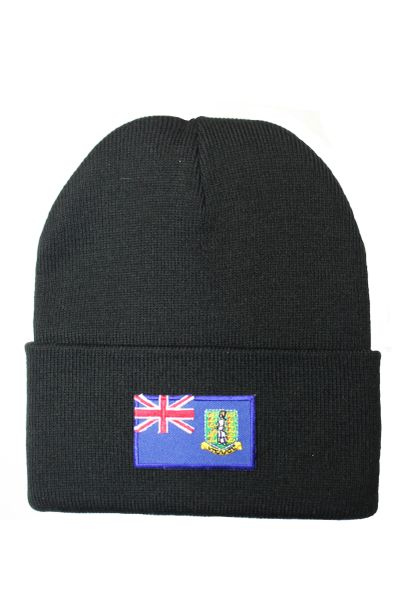 BRITISH VIRGIN ISLANDS Country Flag BRIM Knitted HAT CAP choose your color BLACK, WHITE, RED, PINK, BLUE... NEW