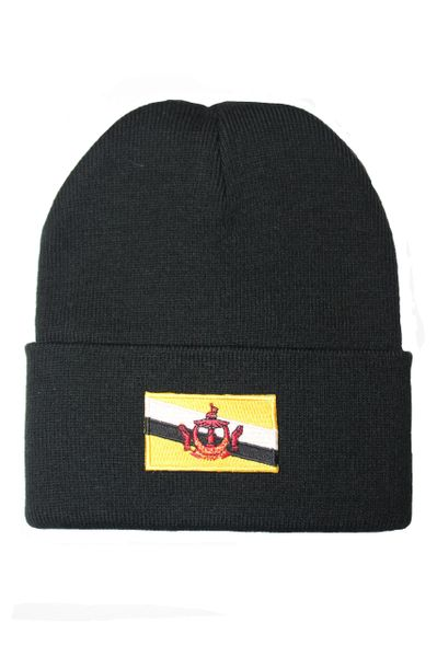 BRUNEI Country Flag BRIM Knitted HAT CAP choose your color BLACK, WHITE, RED, PINK, BLUE... NEW