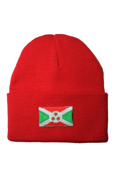 BURUNDI Country Flag BRIM Knitted HAT CAP choose your color BLACK, WHITE, RED, PINK, BLUE... NEW