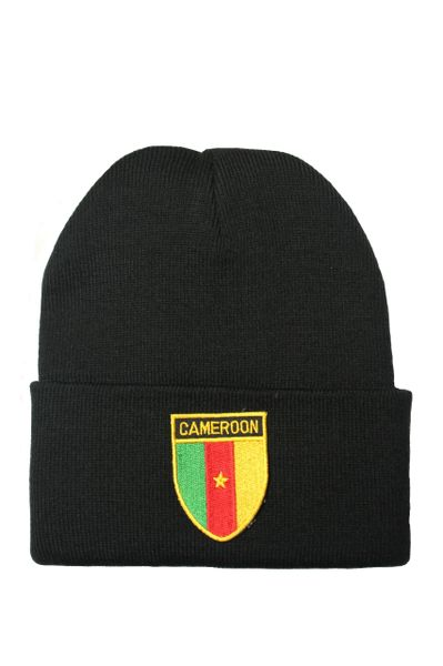 CAMEROON Country Flag BRIM Knitted HAT CAP choose your color BLACK, WHITE, RED, PINK, BLUE... NEW