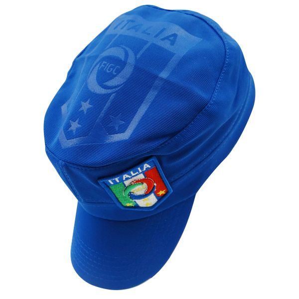 ITALIA ITALY BLUE FIGC LOGO FIFA SOCCER WORLD CUP MILITARY STYLE HAT CAP .. HIGH QUALITY .. NEW