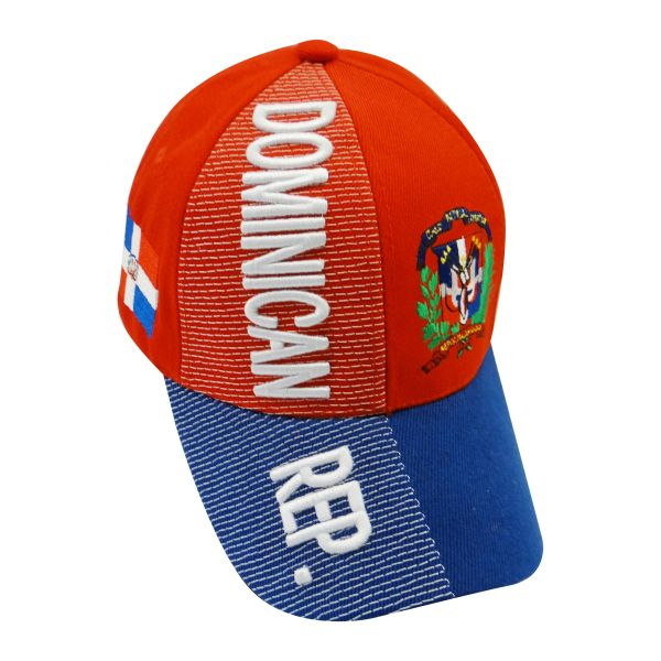 DOMINICAN REPUBLIC BLUE RED COUNTRY FLAG , EMBOSSED HAT CAP .. NEW