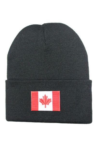 CANADA Country Flag BRIM Knitted HAT CAP choose your color BLACK, WHITE, RED, PINK, BLUE... NEW