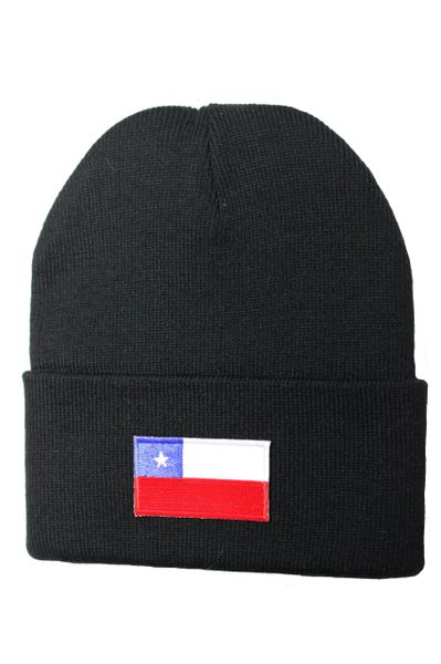 CHILE Country Flag BRIM Knitted HAT CAP choose your color BLACK, WHITE, RED, PINK, BLUE... NEW