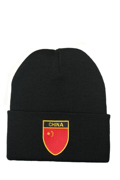 CHINA Country Flag BRIM Knitted HAT CAP choose your color BLACK, WHITE, RED, PINK, BLUE... NEW