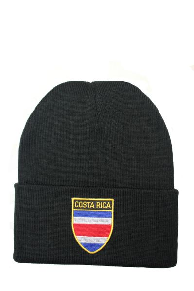 COSTA RICA Country Flag BRIM Knitted HAT CAP choose your color BLACK, WHITE, RED, PINK, BLUE... NEW