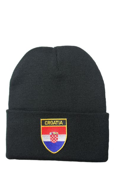CROATIA Country Flag BRIM Knitted HAT CAP choose your color BLACK, WHITE, RED, PINK, BLUE... NEW