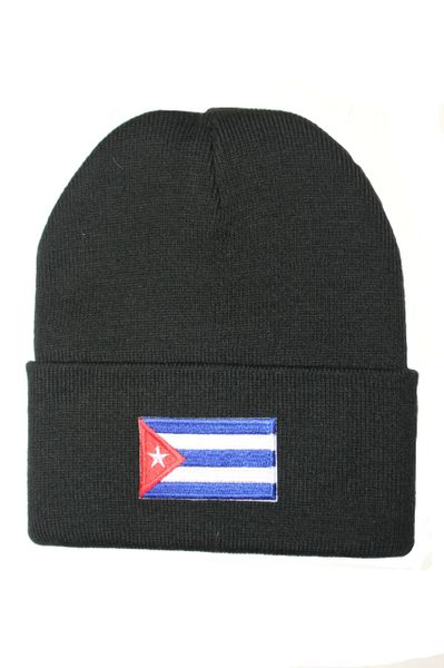 CUBA Country Flag BRIM Knitted HAT CAP choose your color BLACK, WHITE, RED, PINK, BLUE... NEW