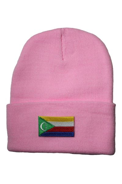 COMOROS Country Flag BRIM Knitted HAT CAP choose your color BLACK, WHITE, RED, PINK, BLUE... NEW