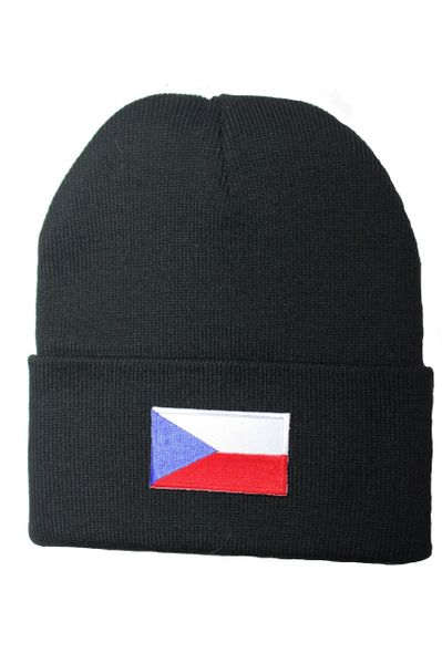CZECH Country Flag BRIM Knitted HAT CAP choose your color BLACK, WHITE, RED, PINK, BLUE... NEW