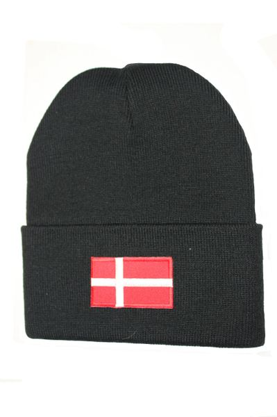 DENMARK Country Flag BRIM Knitted HAT CAP choose your color BLACK, WHITE, RED, PINK, BLUE... NEW