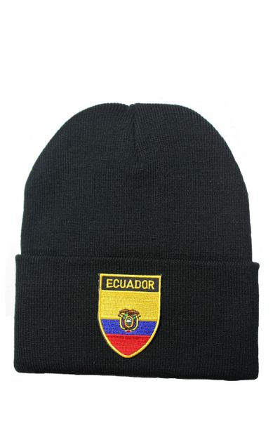 ECUADOR Country Flag BRIM Knitted HAT CAP choose your color BLACK, WHITE, RED, PINK, BLUE... NEW