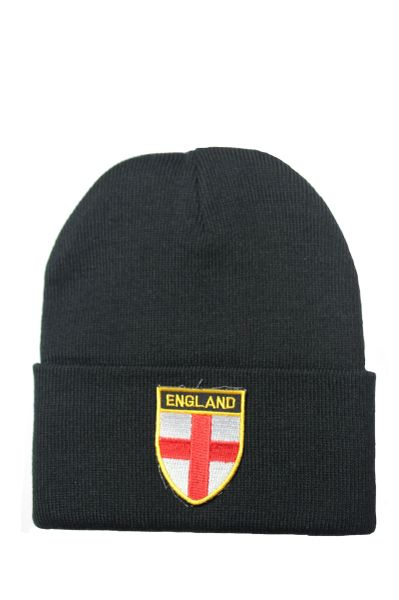 ENGLAND Country Flag BRIM Knitted HAT CAP choose your color BLACK, WHITE, RED, PINK, BLUE... NEW