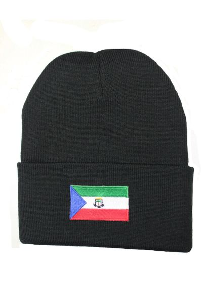 EQUATORIAL GUINEA Country Flag BRIM Knitted HAT CAP choose your color BLACK, WHITE, RED, PINK, BLUE... NEW