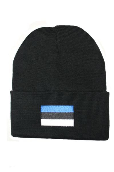 ESTONIA Country Flag BRIM Knitted HAT CAP choose your color BLACK, WHITE, RED, PINK, BLUE... NEW