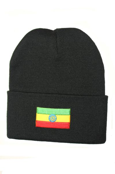 ETHIOPIA Country Flag BRIM Knitted HAT CAP choose your color BLACK, WHITE, RED, PINK, BLUE... NEW