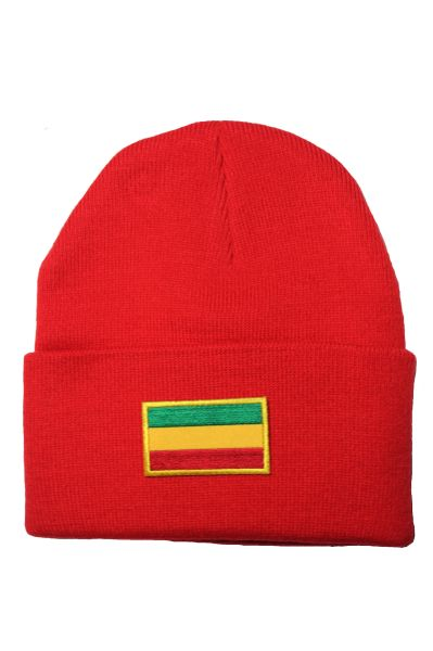ETHIOPIA (plain) Country Flag BRIM Knitted HAT CAP choose your color BLACK, WHITE, RED, PINK, BLUE... NEW
