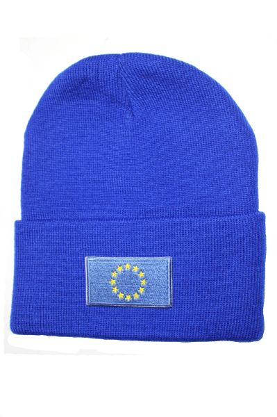 EU Country Flag BRIM Knitted HAT CAP choose your color BLACK, WHITE, RED, PINK, BLUE... NEW