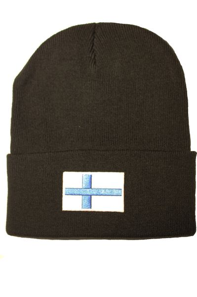 FINLAND Country Flag BRIM Knitted HAT CAP choose your color BLACK, WHITE, RED, PINK, BLUE... NEW