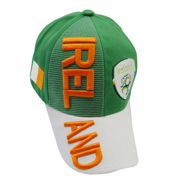 IRELAND GREEN WHITE COUNTRY FLAG WITH TEAM LOGO FIFA SOCCER WORLD CUP EMBOSSED HAT CAP .. HIGH QUALITY .. NEW