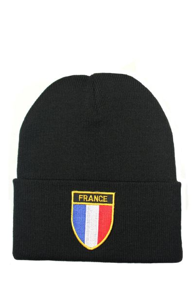 FRANCE Country Flag BRIM Knitted HAT CAP choose your color BLACK, WHITE, RED, PINK, BLUE... NEW