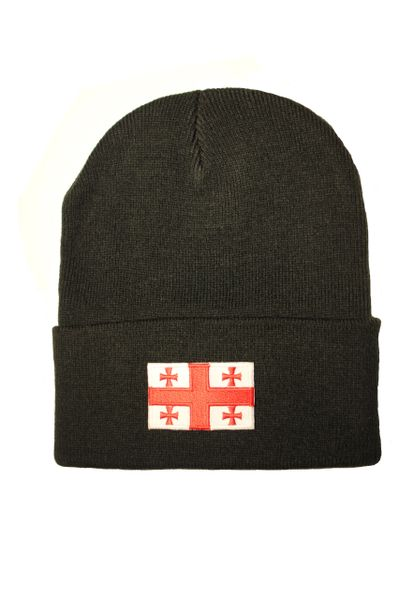 GEORGIA Country Flag BRIM Knitted HAT CAP choose your color BLACK, WHITE, RED, PINK, BLUE... NEW