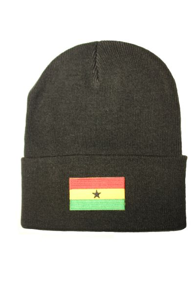 GHANA Country Flag BRIM Knitted HAT CAP choose your color BLACK, WHITE, RED, PINK, BLUE... NEW