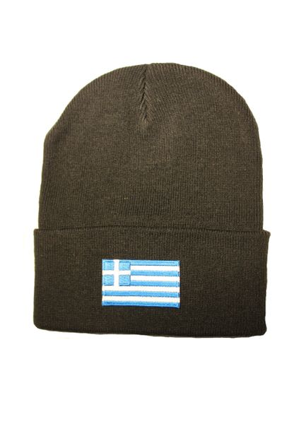 GREECE Country Flag BRIM Knitted HAT CAP choose your color BLACK, WHITE, RED, PINK, BLUE... NEW