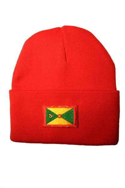 GRENADA Country Flag BRIM Knitted HAT CAP choose your color BLACK, WHITE, PINK, BLUE... NEW