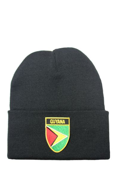 GUYANA Country Flag BRIM Knitted HAT CAP choose your color BLACK, WHITE, RED, PINK... NEW