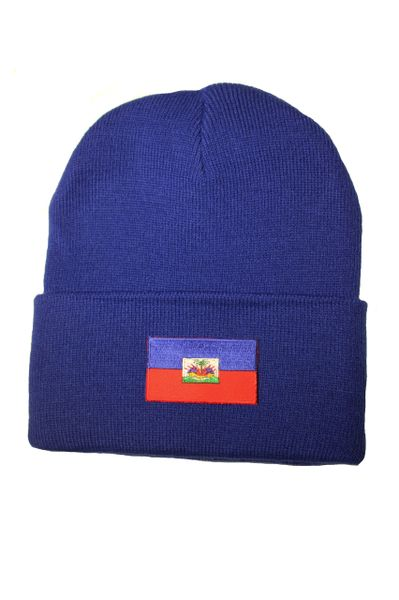 HAITI Country Flag BRIM Knitted HAT CAP choose your color PINK, BLUE... NEW