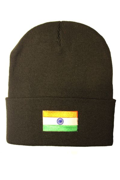 INDIA Country Flag BRIM Knitted HAT CAP choose your color BLACK, PINK.. NEW