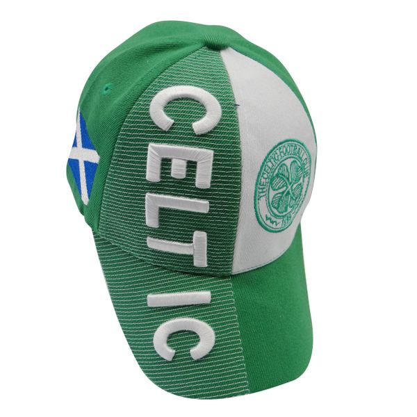 CELTIC GREEN WHITE COUNTRY FLAG WITH LOGO FIFA SOCCER WORLD CUP EMBOSSED HAT CAP .. HIGH QUALITY .. NEW
