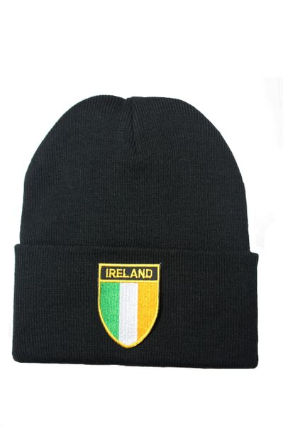 IRELAND Country Flag BRIM Knitted HAT CAP choose your color BLACK, WHITE, RED, PINK, BLUE... NEW
