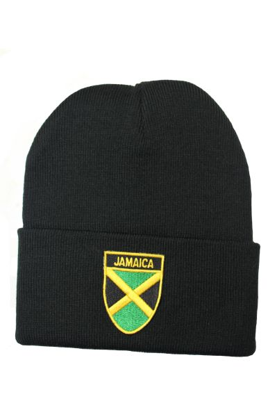 JAMAICA Country Flag BRIM Knitted HAT CAP choose your color BLACK, WHITE, RED, PINK, BLUE... NEW