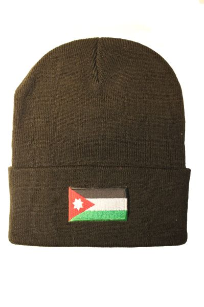 JORDAN Country Flag BRIM Knitted HAT CAP choose your color BLACK, WHITE, RED, PINK... NEW