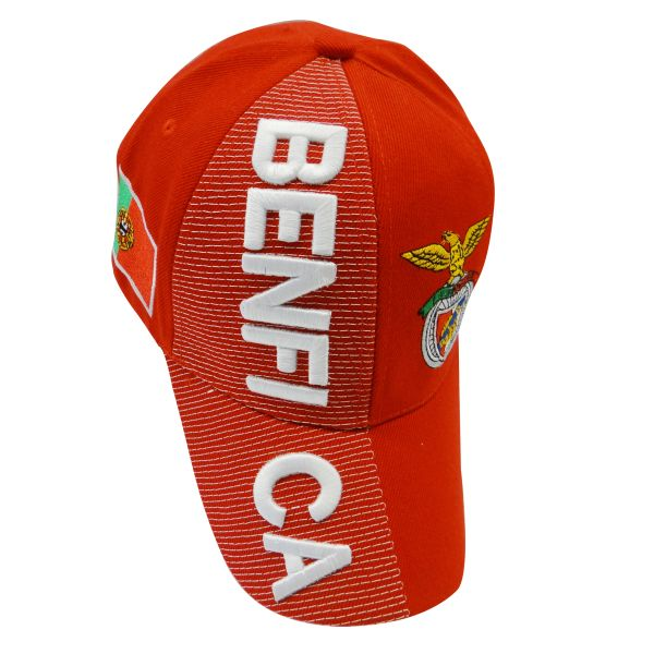 BENFICA RED COUNTRY FLAG WITH LOGO FIFA SOCCER WORLD CUP EMBOSSED HAT CAP .. HIGH QUALITY .. NEW