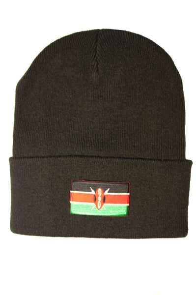 KENIA Country Flag BRIM Knitted HAT CAP choose your color BLACK, WHITE, RED, PINK, BLUE... NEW