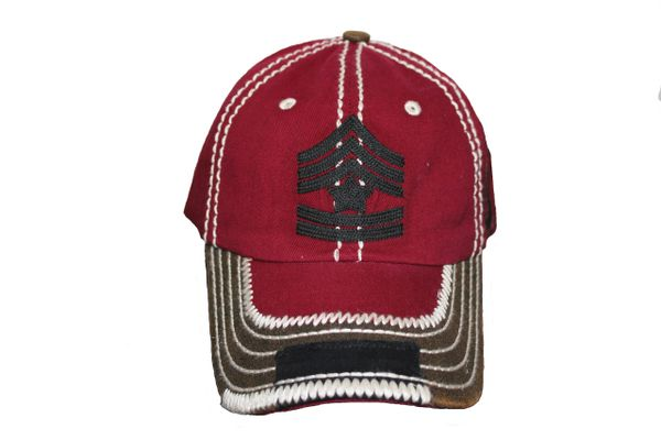USA Military Style Sign Vintage HAT Cap .Colors : Black,Burgundy.KBETHOS. New