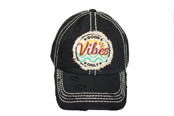 Good Vibes ONLY Vintage Black HAT Cap KBETHOS .New